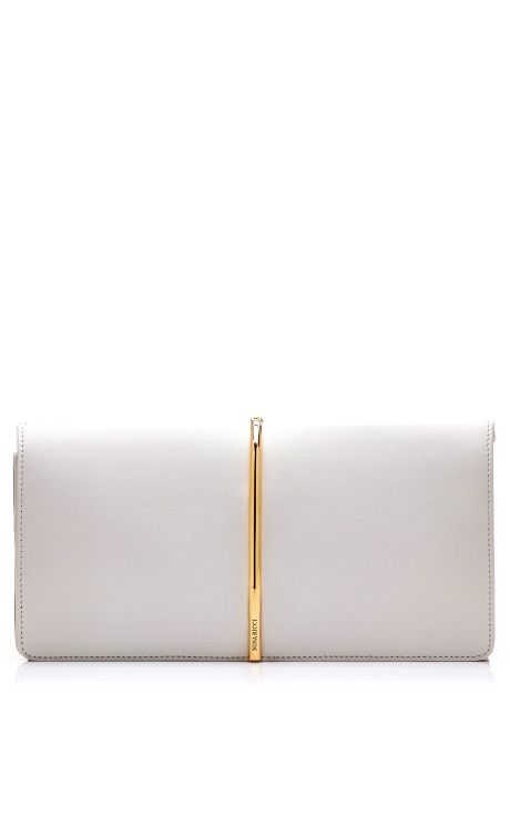 Foldover Leather and Suede Clutch by Nina Ricci