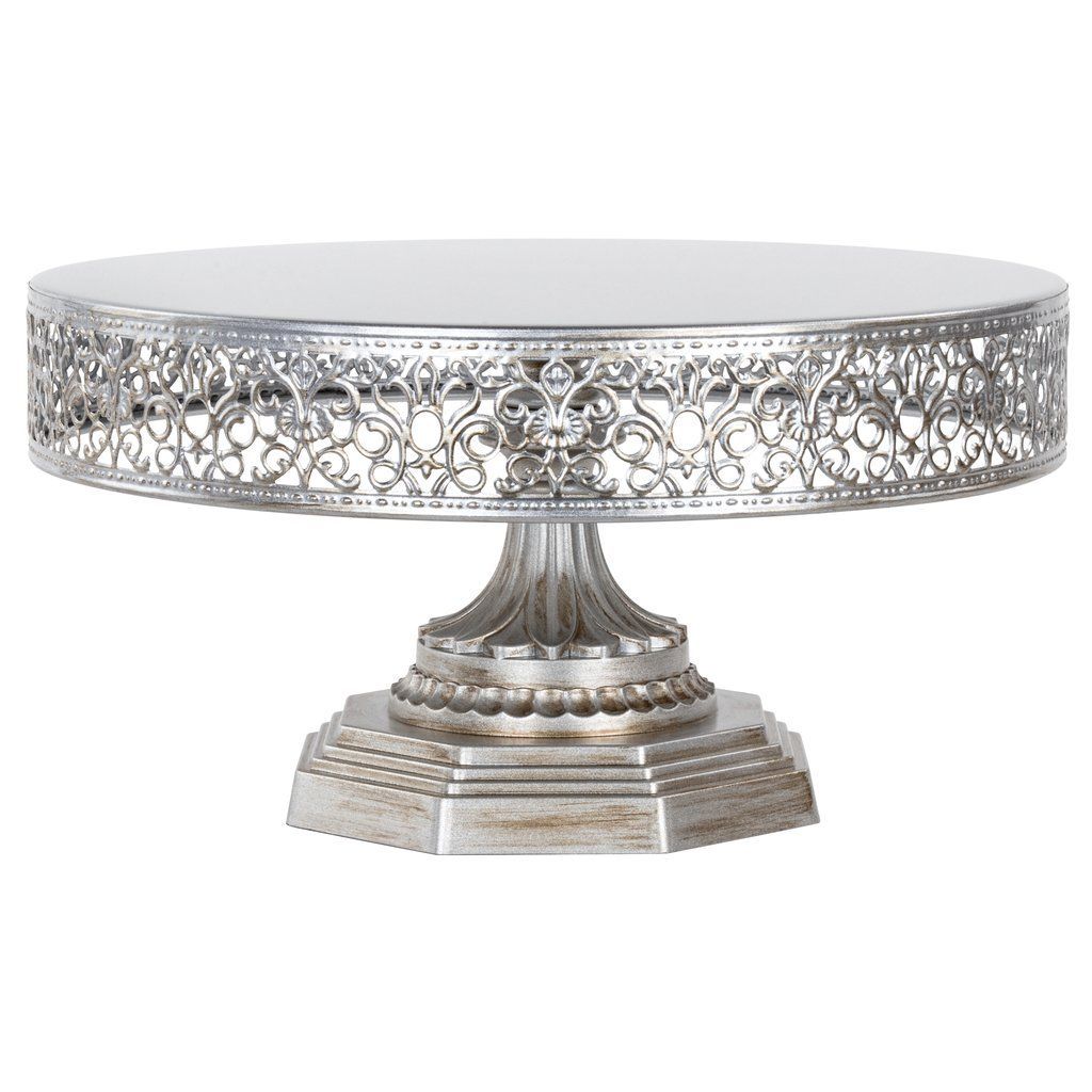 12 Inch Vintage Round Metal Wedding Cake Stand Silver Metal Wedding Cake Stands Wedding Cake Stand Silver Silver Cake Stand