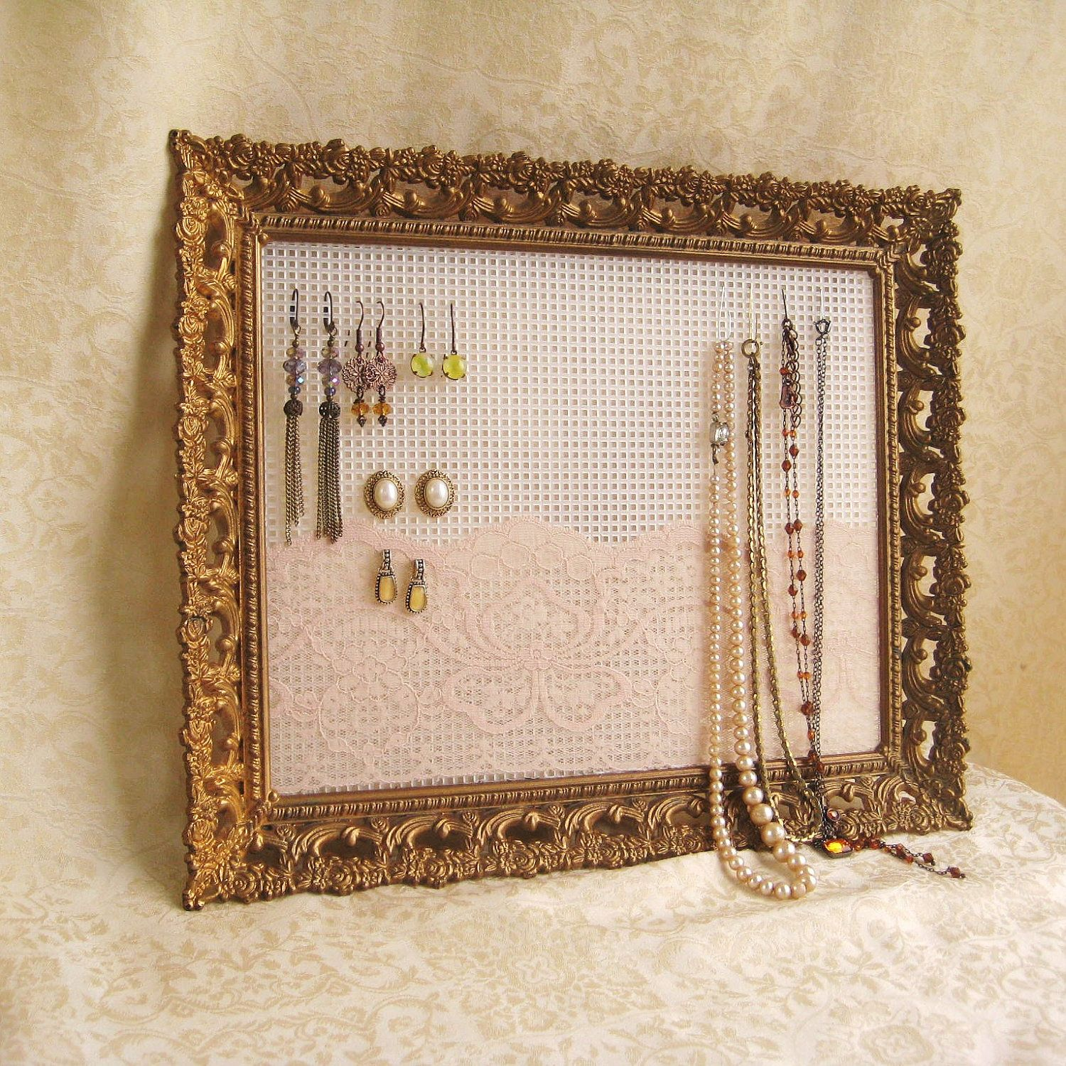 Earring Holder Jewelry Organizer Display Rustic Vintage Upcycled Picture Frame
