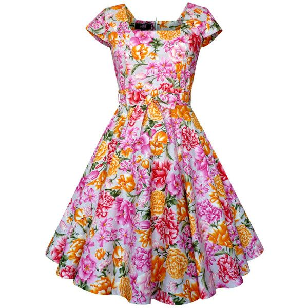 Lady Mayra Anna Pink Summer Floral Flower Dress Vintage Rockabilly... ($30) ❤ liked on Polyvore featuring dresses, silver, women's clothing, pink prom dresses, women plus size dresses, vintage prom dresses, plus size summer dresses and plus size formal cocktail dresses