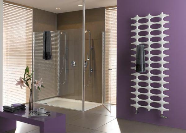 weißer heizkörper an einer lila wand | badezimmer | pinterest, Badezimmer