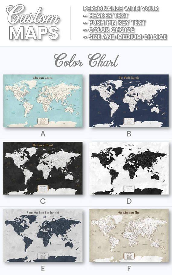 Personalized Anniversary Pushpin World Map.2nd Anniversary Gifts For Men Cotton Personalized Push Pin Map World