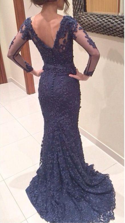 Long Sleeve Lace Prom Dress Lace Mermaid Prom Dress Navy