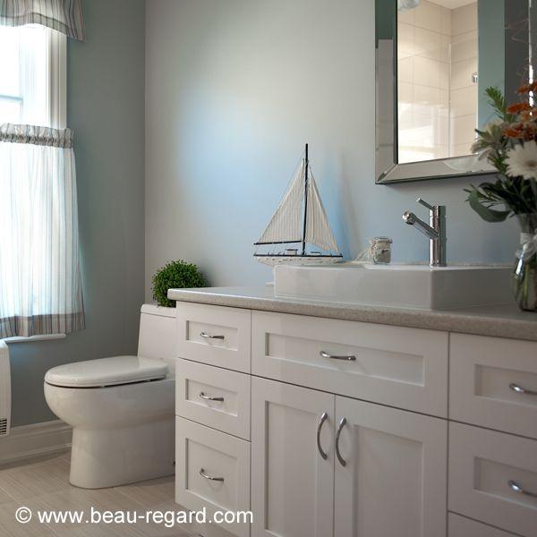 Salle de bain contemporaine, armoire mélamine polyester Salle de