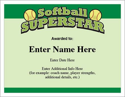 softball superstar certificate templates stylish designs lots of