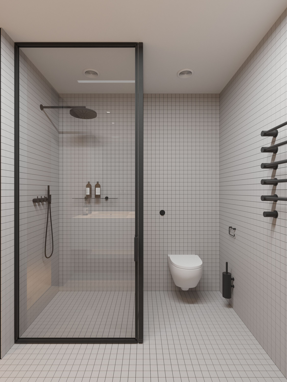 Minimal bathroom interior hate the tiles, love the spacing ...