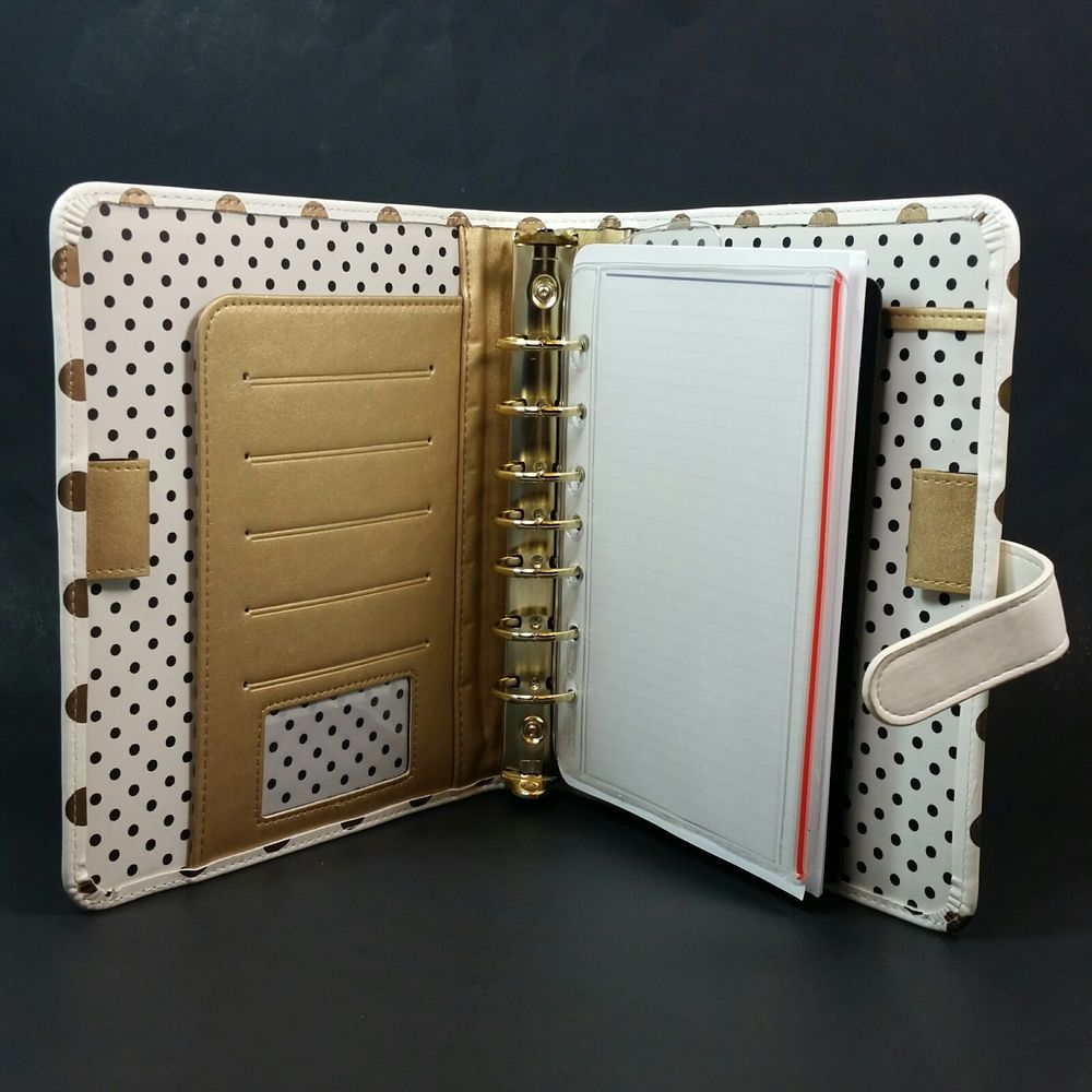 7 Ring Agenda Binder Gold Polka Dots