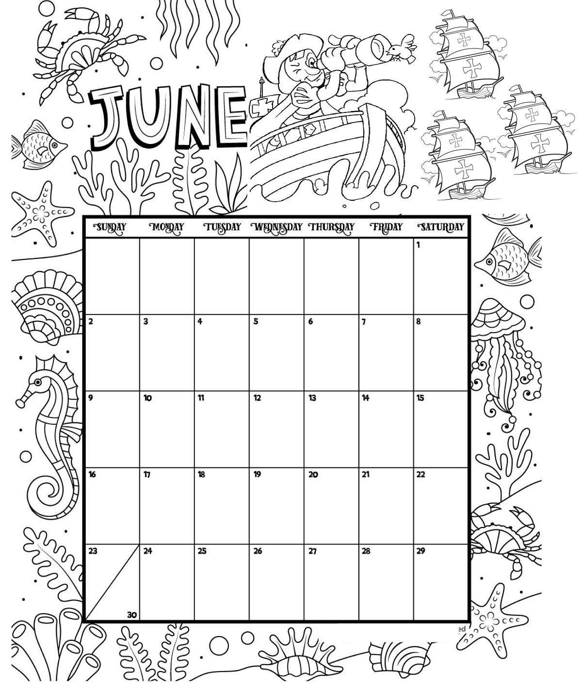 June Printable Coloring Calendar