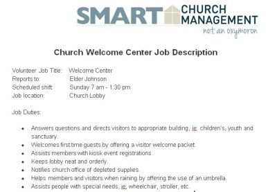 Church Welcome Center Volunteer Job Description  Church Managment