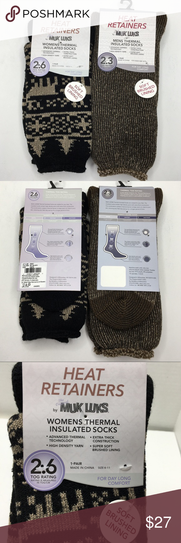 Muk Luks Sock Size 6-11 Womens Heat Retainers Thermal Insulated Super Soft