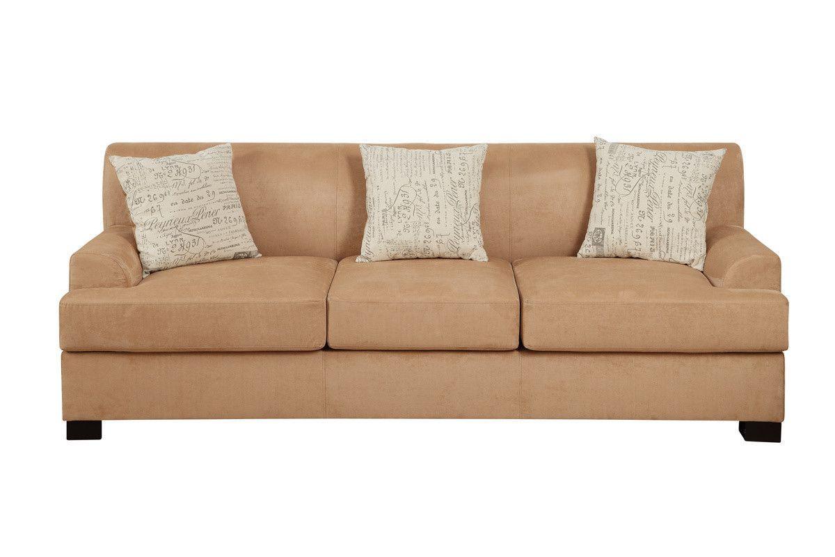 ARIA CONTEMPORARY STYLE TAN MICRO SUEDE W/3 Pillows