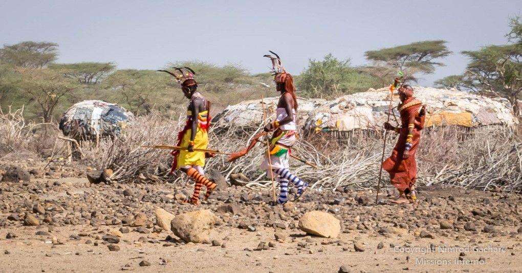 Taking the bride home- traditional Samburu after marriage ceremony,  Olturot, Marsabit, Northern Kenya.