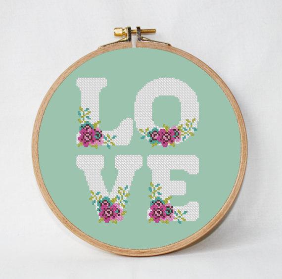 amor patrón de puntada de cruz Flor patrón de puntada de | Proyectos ...