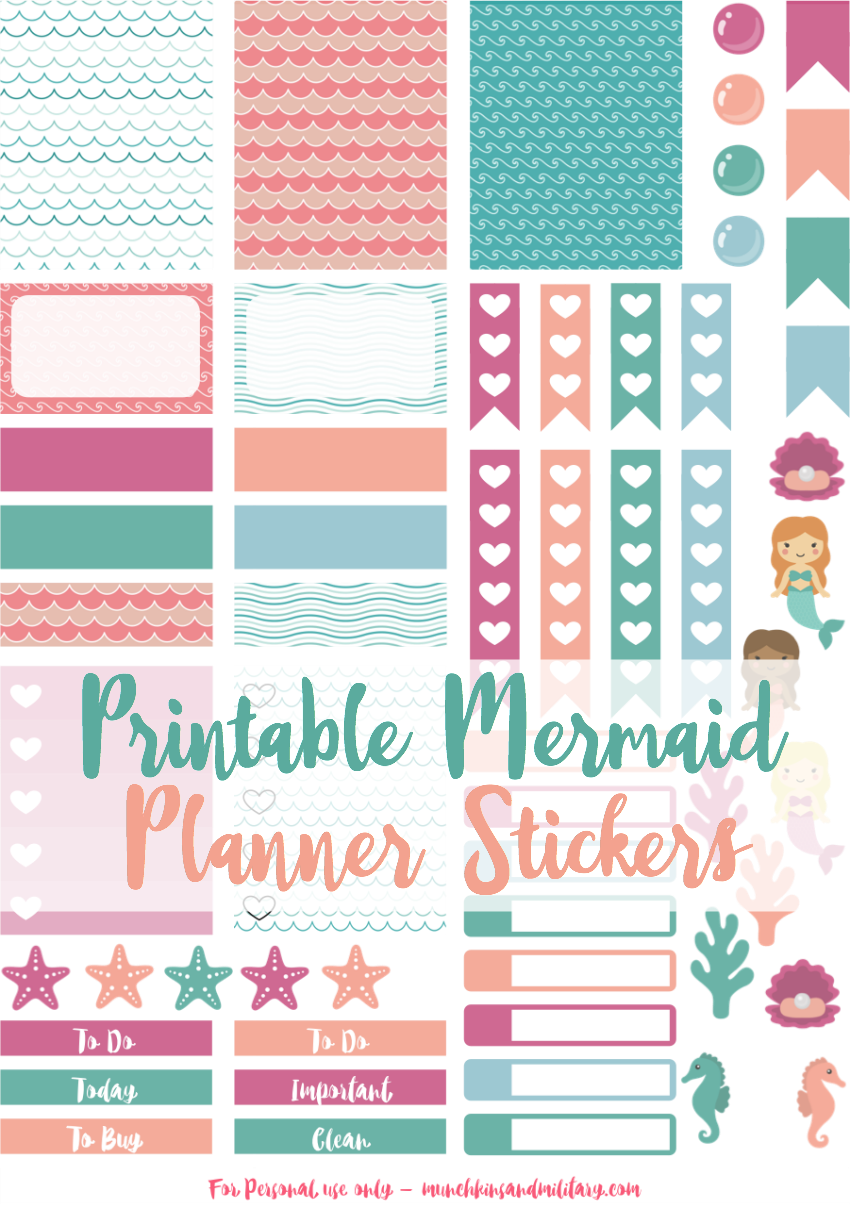 Free printable mermaid planner stickers! Sized for Erin