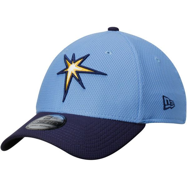 buy popular e887c 18e77 Men s Tampa Bay Rays New Era Light Blue Navy Road Diamond Era 39THIRTY Flex  Hat