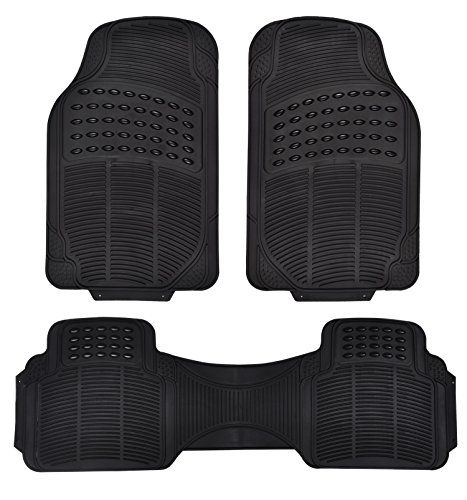 Rubber Floor Mats For Cars Universal Fit 3piece Full Set Ridged
