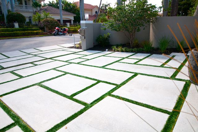 Large concrete pavers driveway with grass google search for Concrete garden designs