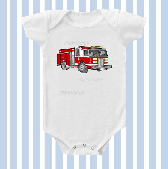 Fire Truck Baby Boy Onesie by SimplyBaby by Simplybabyshop on Etsy, $14.95