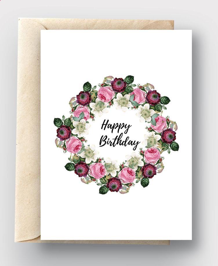 Diy Printable Card Happy Birthday Pink Burgundy Floral Wreath Diy Card Happybirthday Birthday Printabl Printable Cards Birthday Cards Diy Pretty Cards
