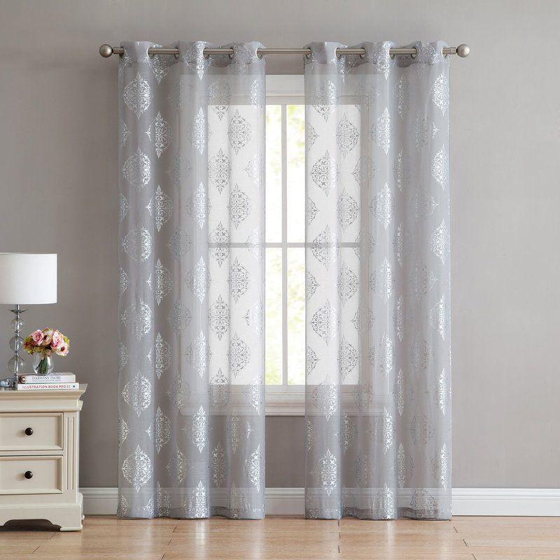Heriberto Metallic Designed Geometric Semi Sheer Thermal Grommet Curtains Drapes Grommet Curtains Curtains Panel Curtains