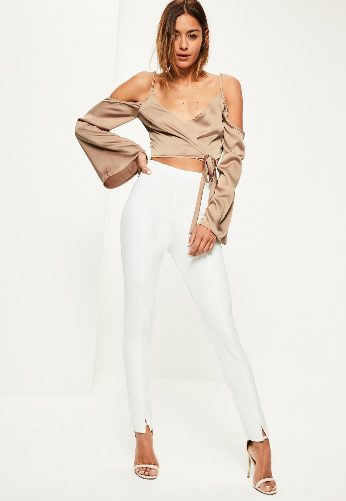 Missguided Nude Wrap Over Cold Shoulder Blouse Fashion