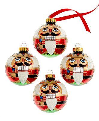 Kurt Adler Christmas Ornaments, Set of 4 Nutcracker - Kurt Adler Christmas Ornaments, Set Of 4 Nutcracker Happy Holidys
