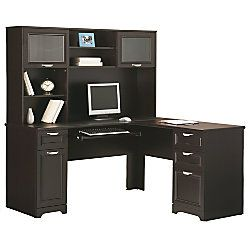 Reale Magellan Collection L Shaped Desk 30 H X 58 34 W 18 D Espresso By Office Depot Officemax