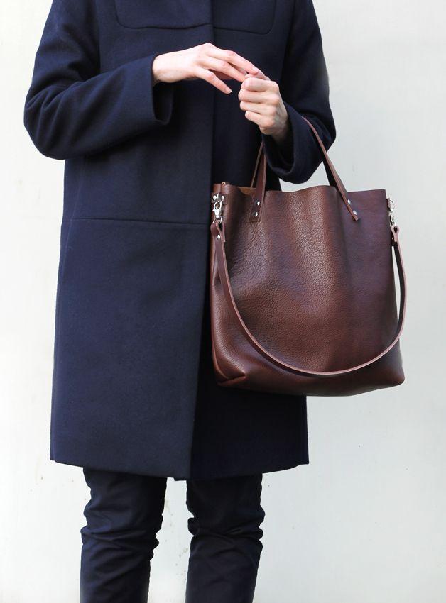 Photo of Leather bag dark brown / leather shopper bag darkbrown, hipster bag by MINUK vi …