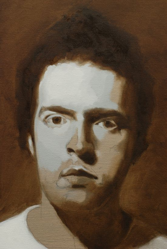 Oil painting a black and white portrait