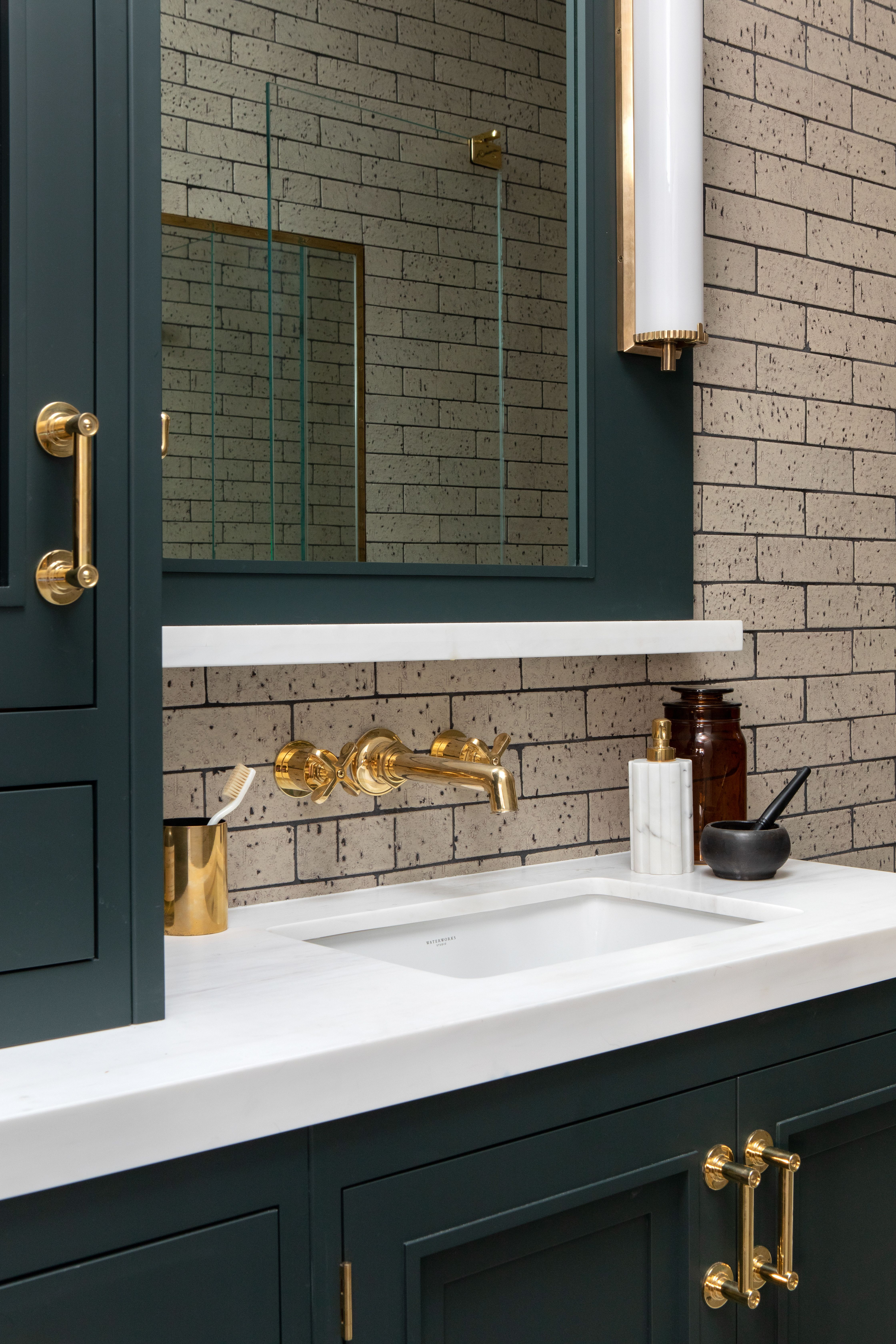 Dark Green Vanity Raychel Wade Design Green Cabinets Bathroom Dark Green Bathrooms Bathroom Wall Colors [ 6720 x 4480 Pixel ]