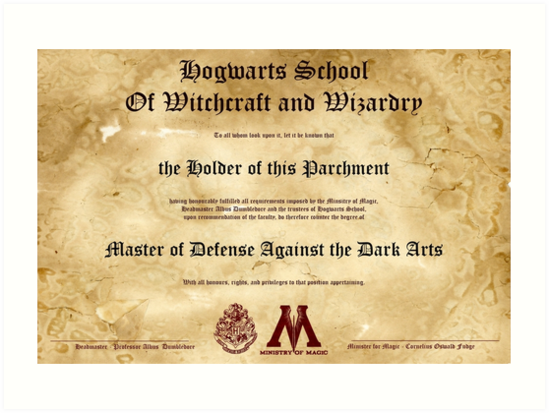 Hogwarts Diploma Poster Defense Against The Dark Arts Owl Quot