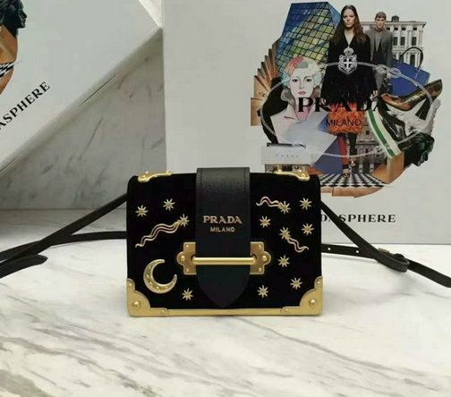 2016 A W Prada Cahier Velvet Bag Black with star and moon adornments ... b3f2e4f2a3965