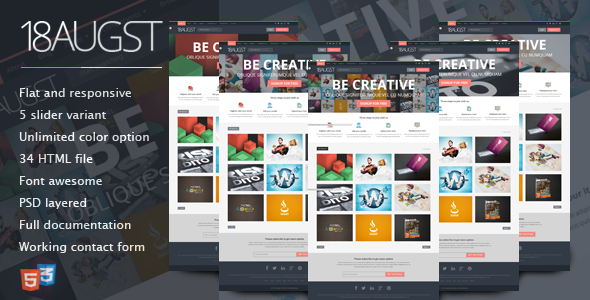 18augst Flat and Responsive Portfolio Gallery | Template, Galleries ...
