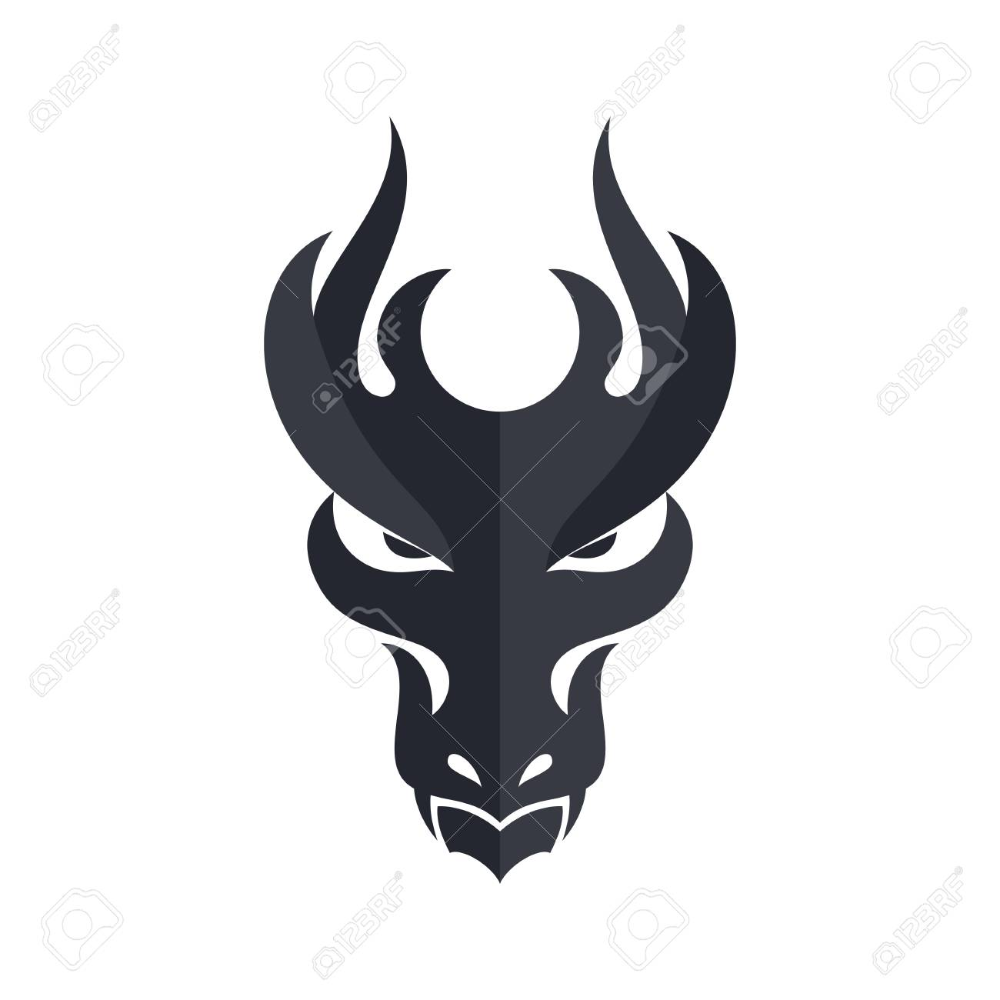 Black Dragon Head Icon Filled Flat Sign Solid Design Template Black Dragon Dragon Head Dragon