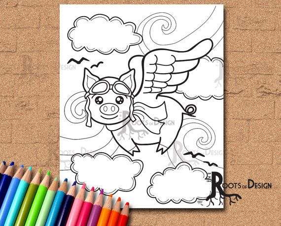 INSTANT DOWNLOAD Coloring Page   Flying Pig doodle by RootsDesign