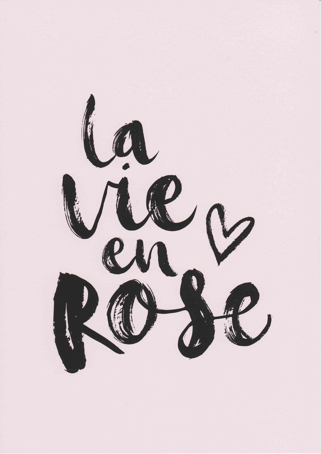 La Vie En Rose Print French Prints Girls Room Decor Pink Wall Art Typography Print French Quote Art Baby Girl Nursery Wall Art Fashion Print by ...
