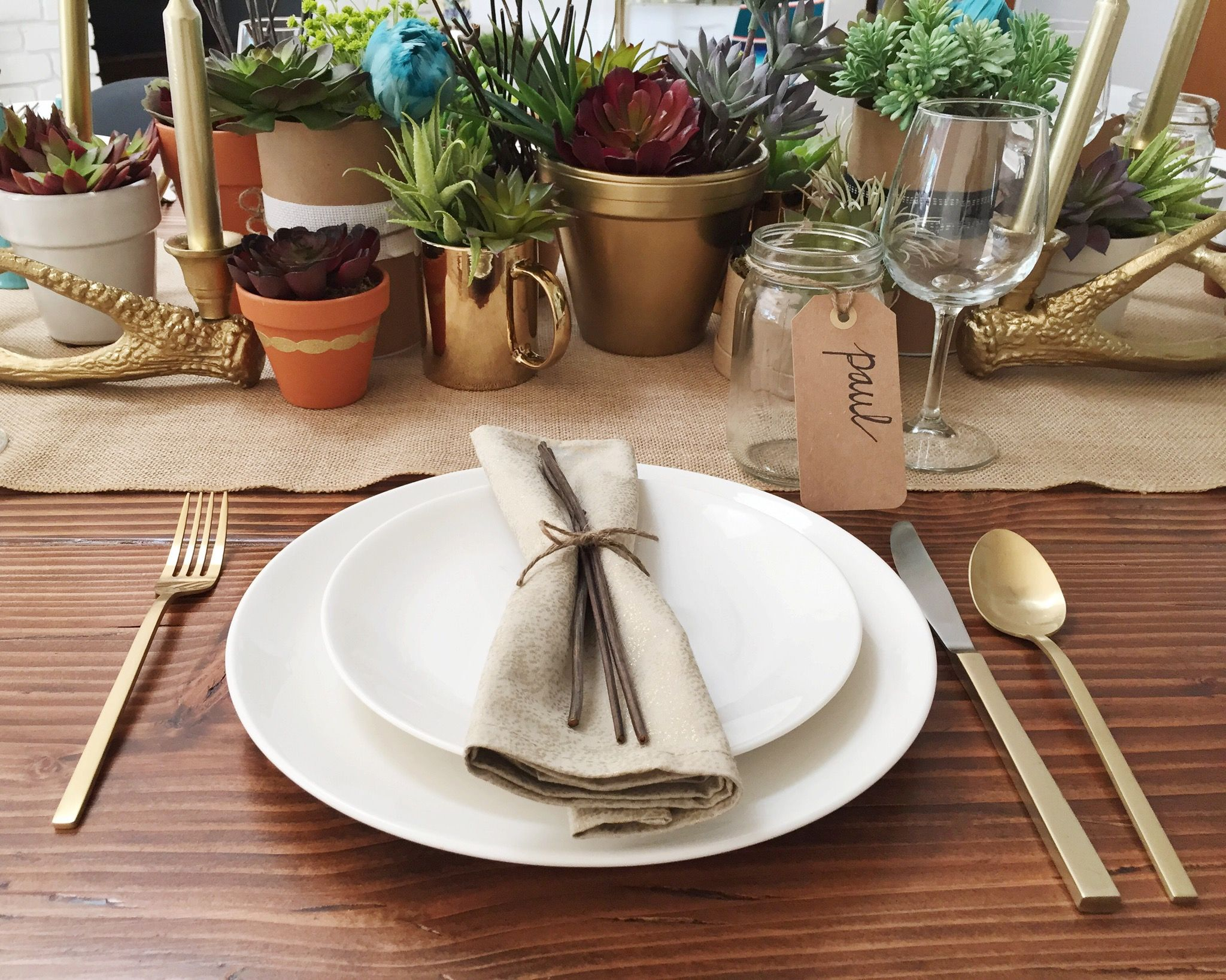 Modern Table Setting Modern Farmhouse Succulents Tablescape Gold Flatware