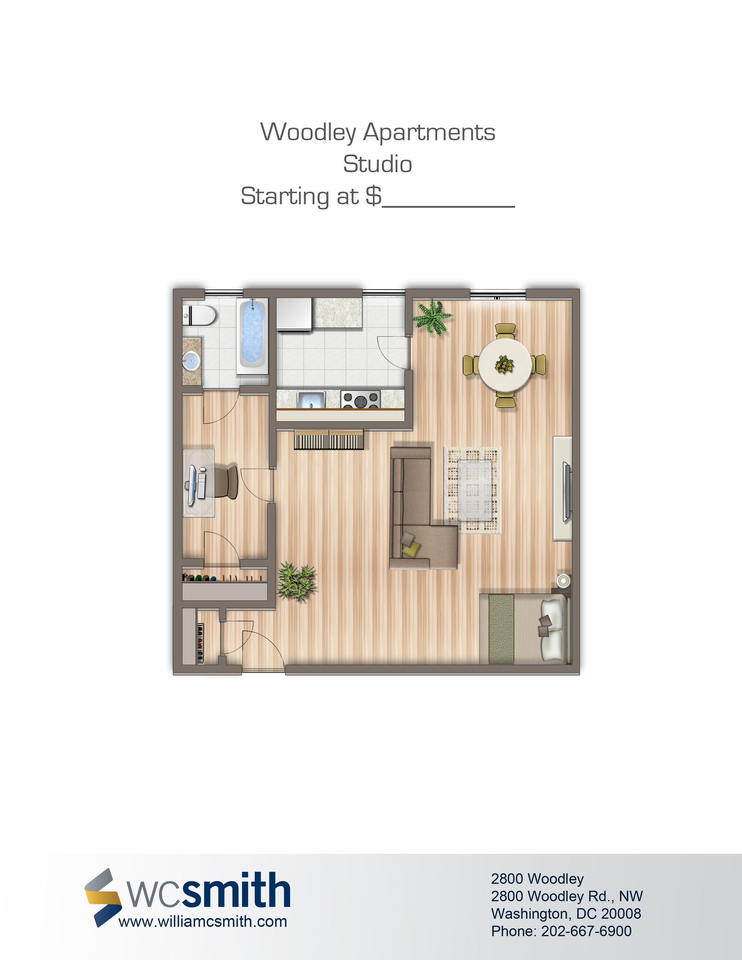 Studio/Efficiency Floor Plan | 2800 Woodley In Northwest Washington DC | WC  Smith Apartments
