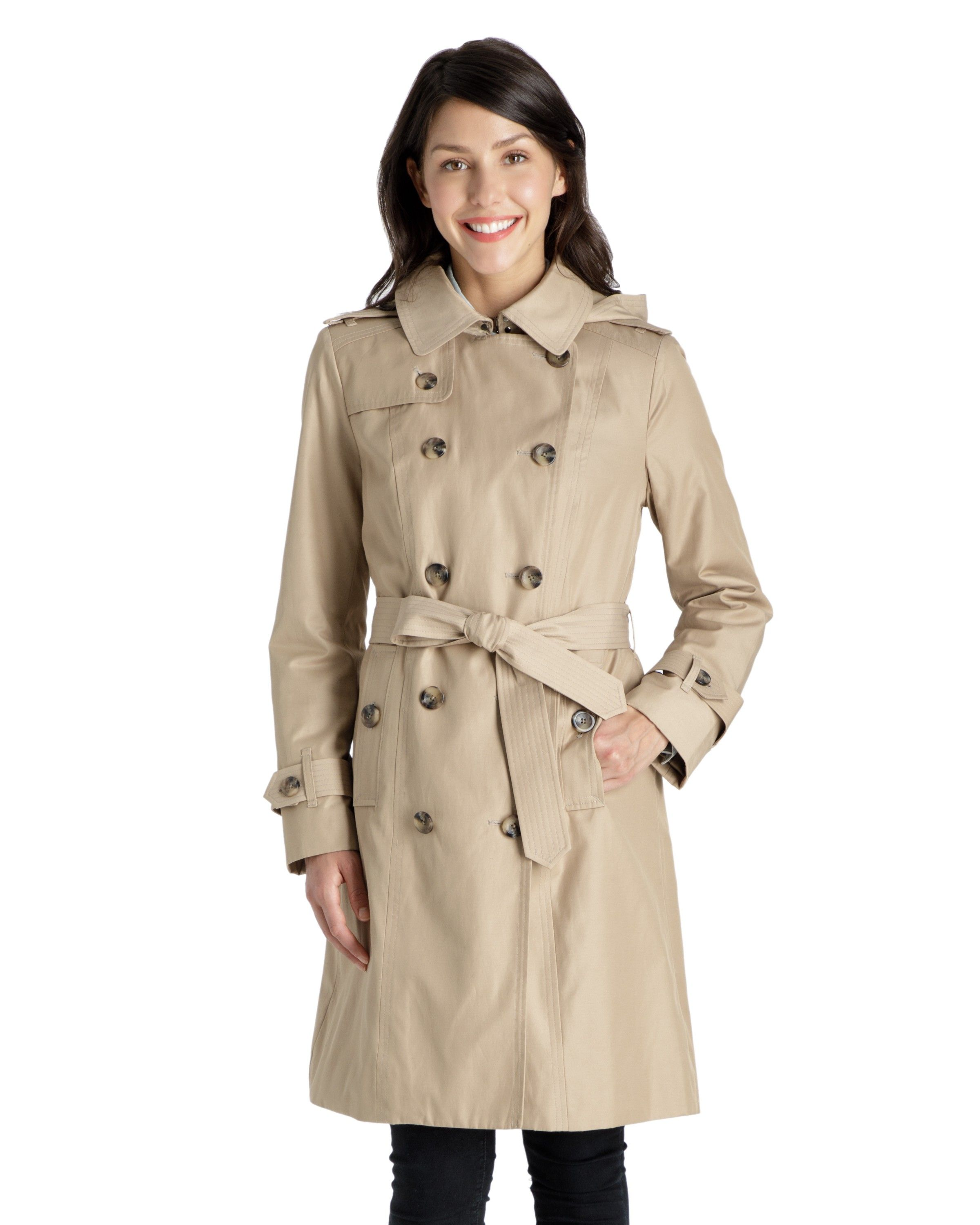 22fd0ea8e4 Ryan Double-Breasted Trench Coat with Removable hood - Women's Raincoats -  Coats for Women - Women