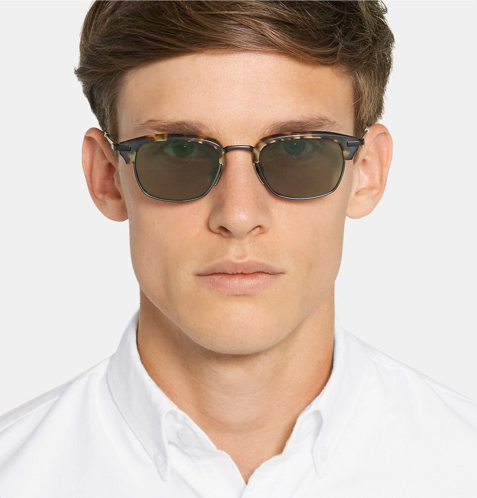 241da543494 Thom Browne - Square-Frame Tortoiseshell Acetate and Pewter-Tone Sunglasses