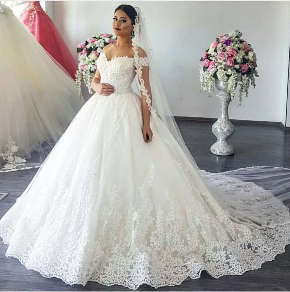 Plus size white wedding dresses  Details about IvoryWhite Sweetheart Aline Lace Wedding Dresses