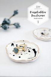 Schön abgelegt: Ringschalen mit Goldrand   paulsvera  DIY ring bowl   Jewelry b…