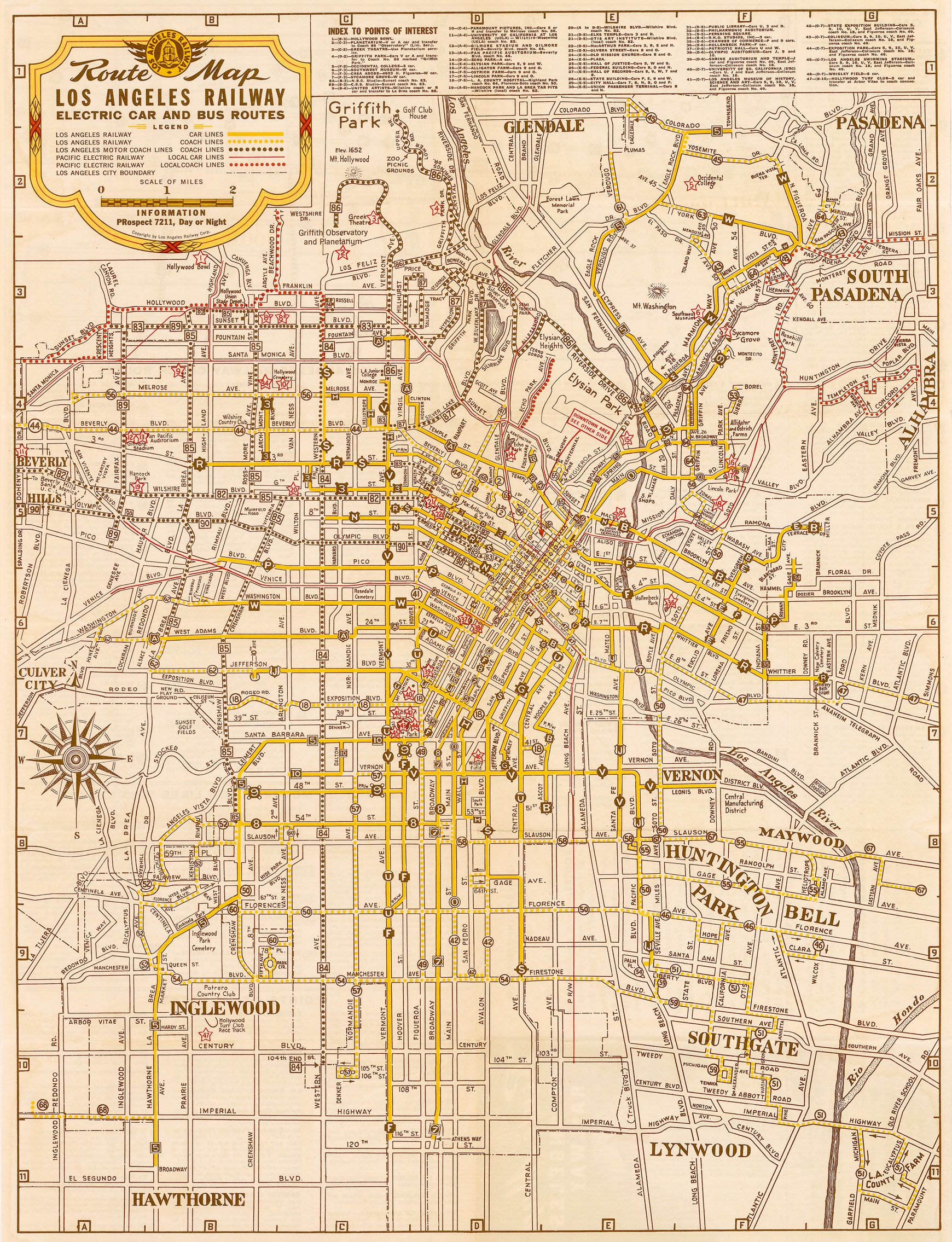 Route Map Los Angeles Railway Electric Car and Bus Routes 1942