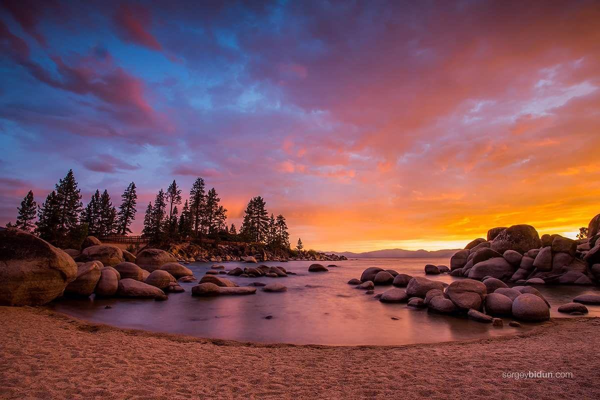Lake tahoe sunset travel channel pinterest - Photo Sunset At Sand Harbor Beach Lake Tahoe By Sergey Bidun On