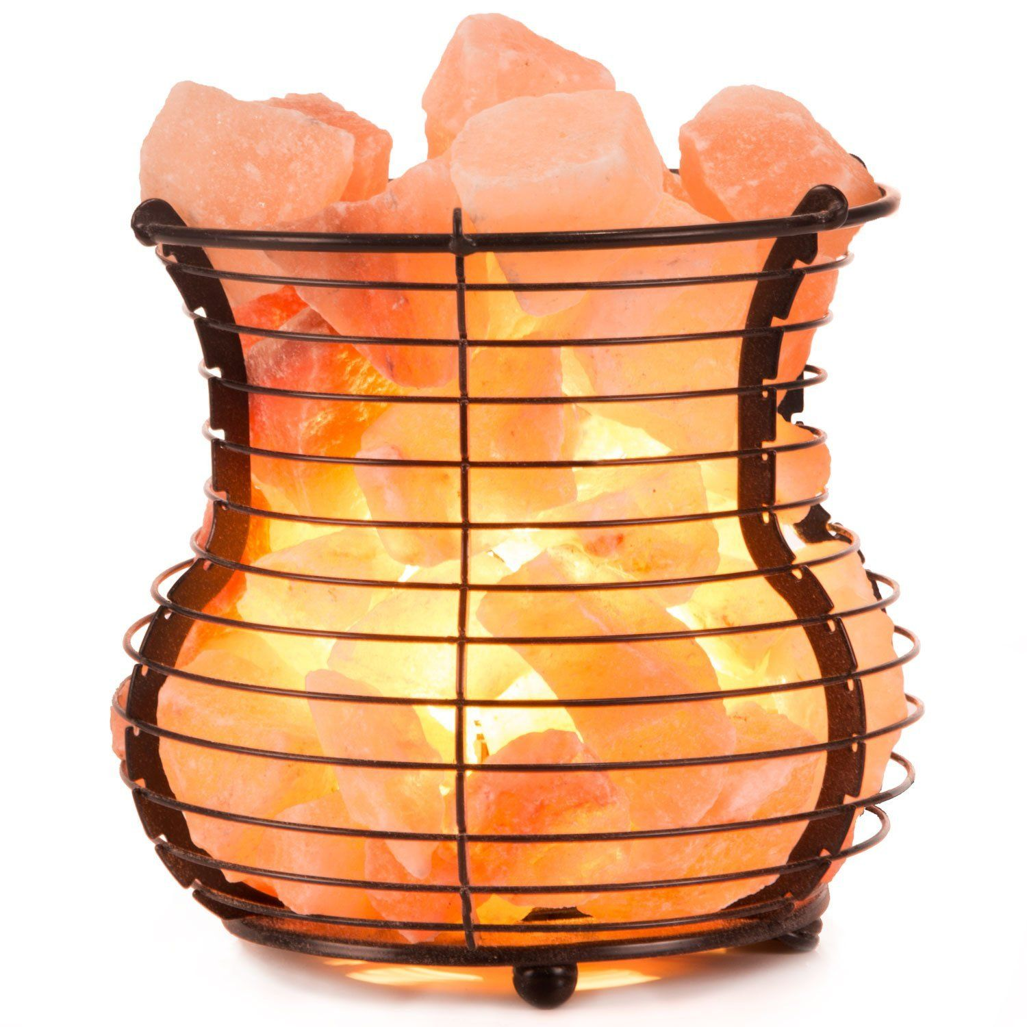 Crystal Allies Gallery Natural Himalayan Salt Wire Mesh Basket Vase Lamp With Cord Light Bulb Authe Pink Salt Lamp Salt Lamp Pink Himalayan Salt Lamp