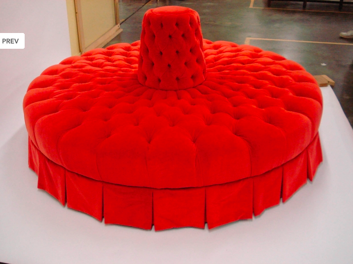 Round Tufted Sofa, Can Be Built Around Pole