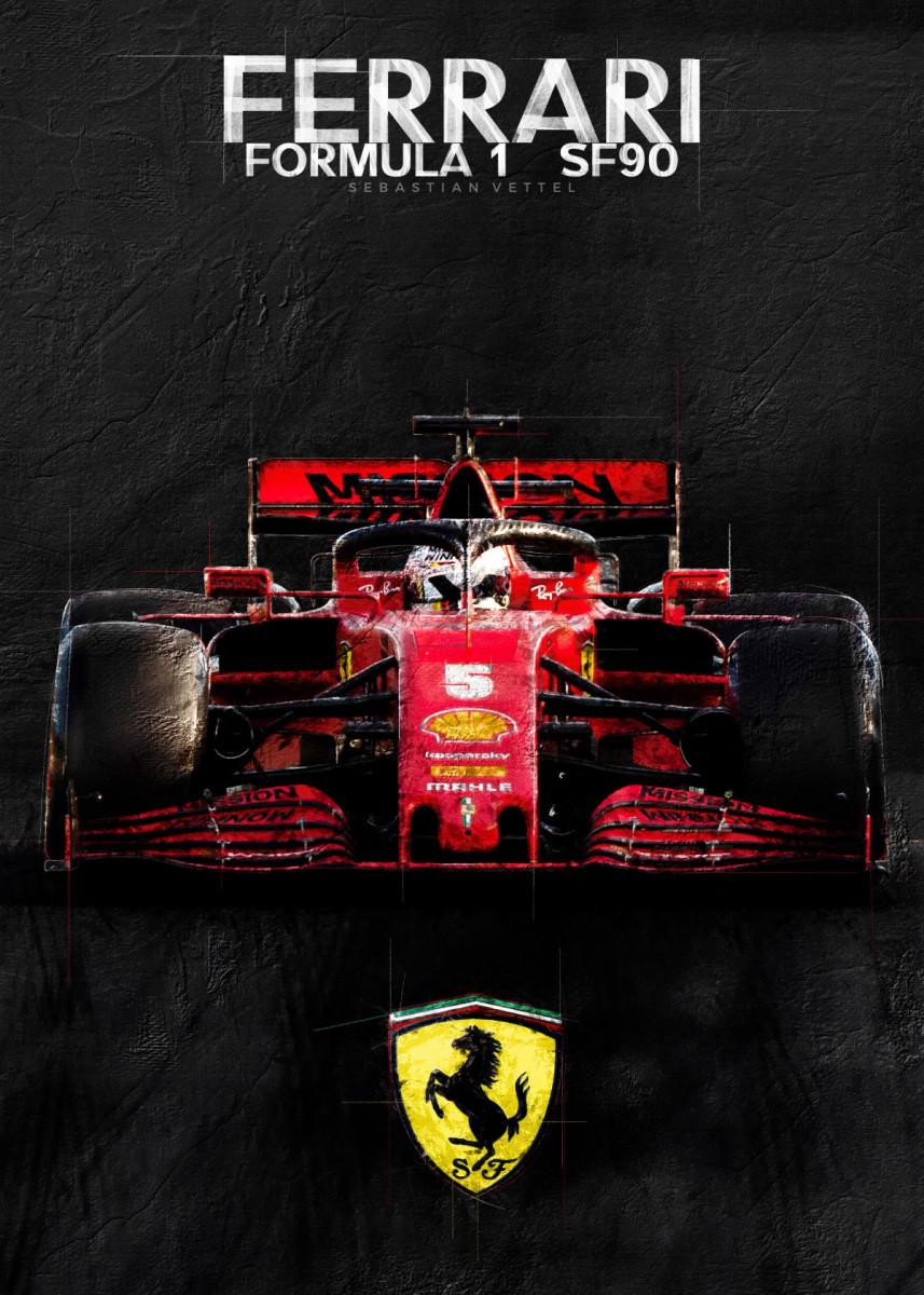 Sebastian Vettel Poster By Studiosix Displate F1 Wallpaper Cool Sports Cars Ferrari F1
