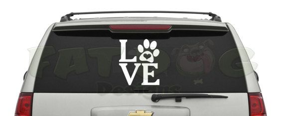 Love paw print custom removable vinyl decal for car decal laptop sticker dog love dog rescue
