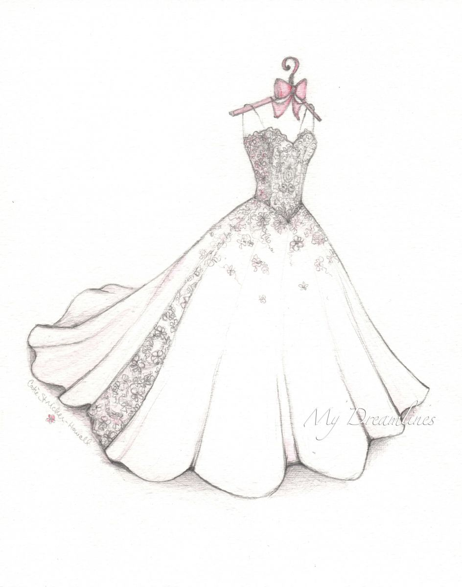 Wedding Dress Sketch For First Anniversary From Him To Her