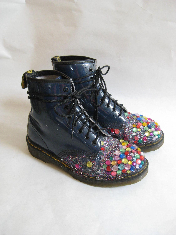 Vintage DOC MARTEN Bedazzled  Combat Boots. Size 8. $98.00, via Etsy.